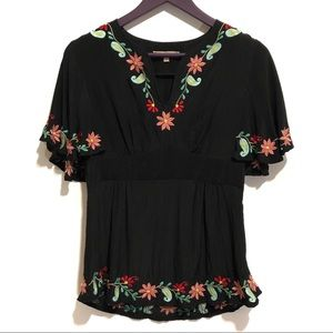 Nanette Lepore 100% Silk Floral Embroidered Top